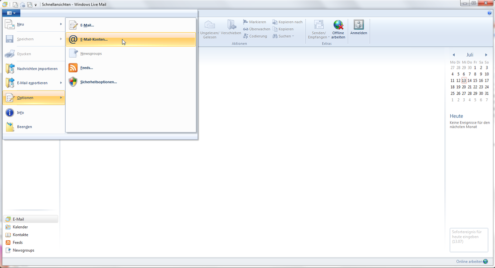 Windows Live Mail 2011 - Schritt 3