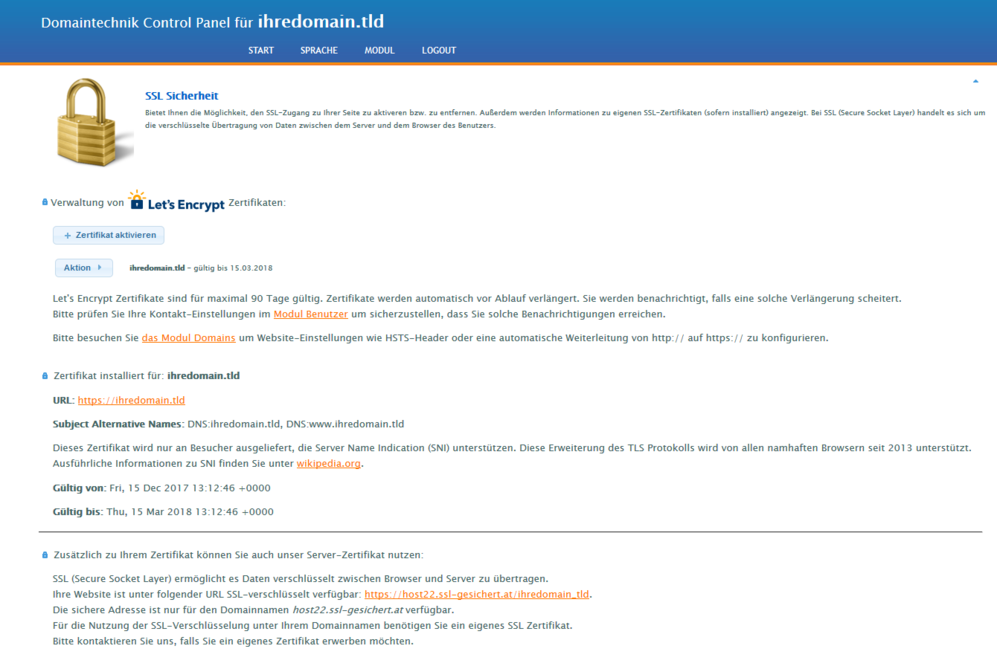 Anleitung Lets Encrypt Ssl Zertifikat Mit 1 Klick Aktivieren