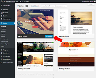 WordPress Design installieren Screenshot 10