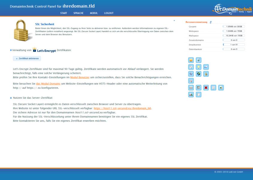 SSL Sicherheit - SSL-Zertifikat für Ihren eigenen Domainnamen