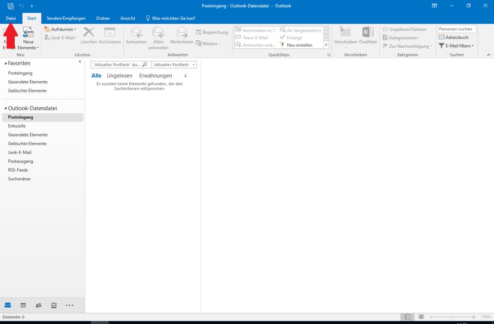IMAP E-Mail Konto in Outlook 2016 einrichten - Schritt 2
