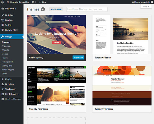 WordPress Template installieren Screenshot 8