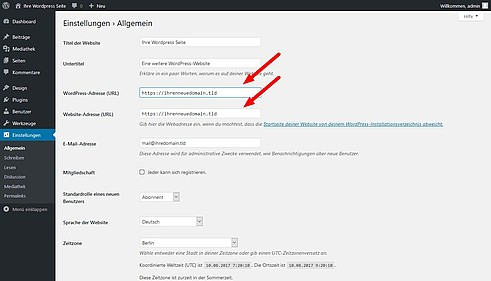 Wordpress URL ändern Variante 1.2