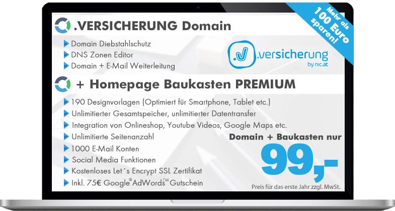 versicherung Domain + Homepage Baukasten PREMIUM, jetzt nur € 118,80 ...