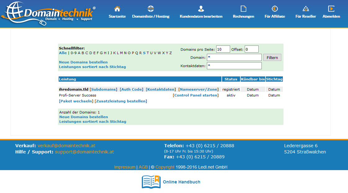 Domaintechnik® Tools Domainliste