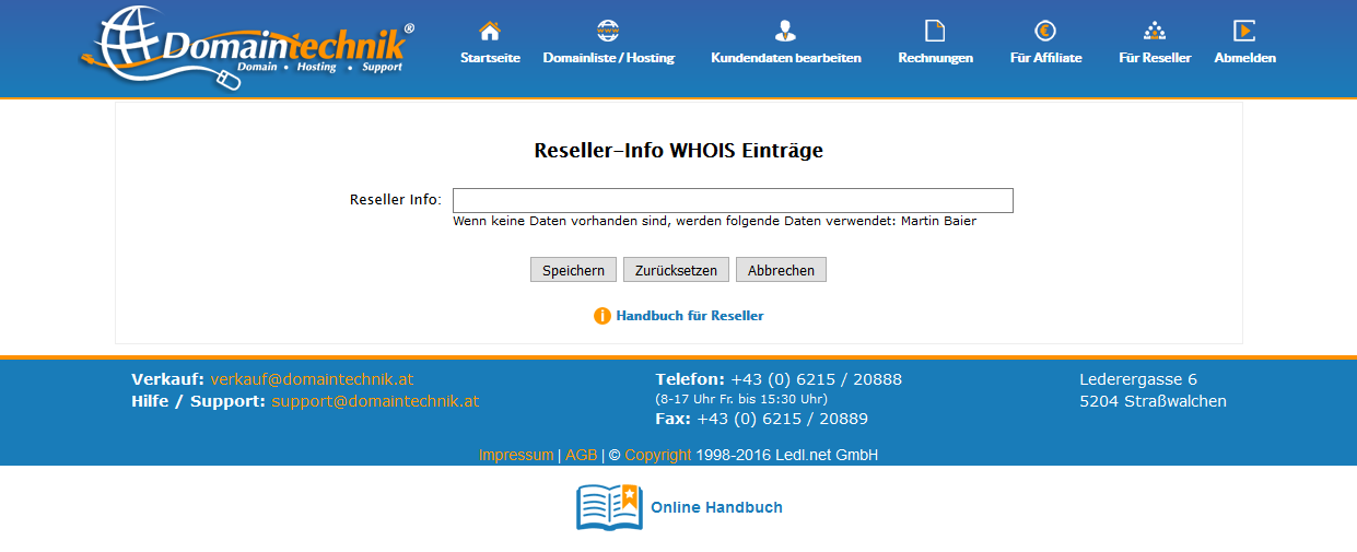 Text Domain Whois ändern