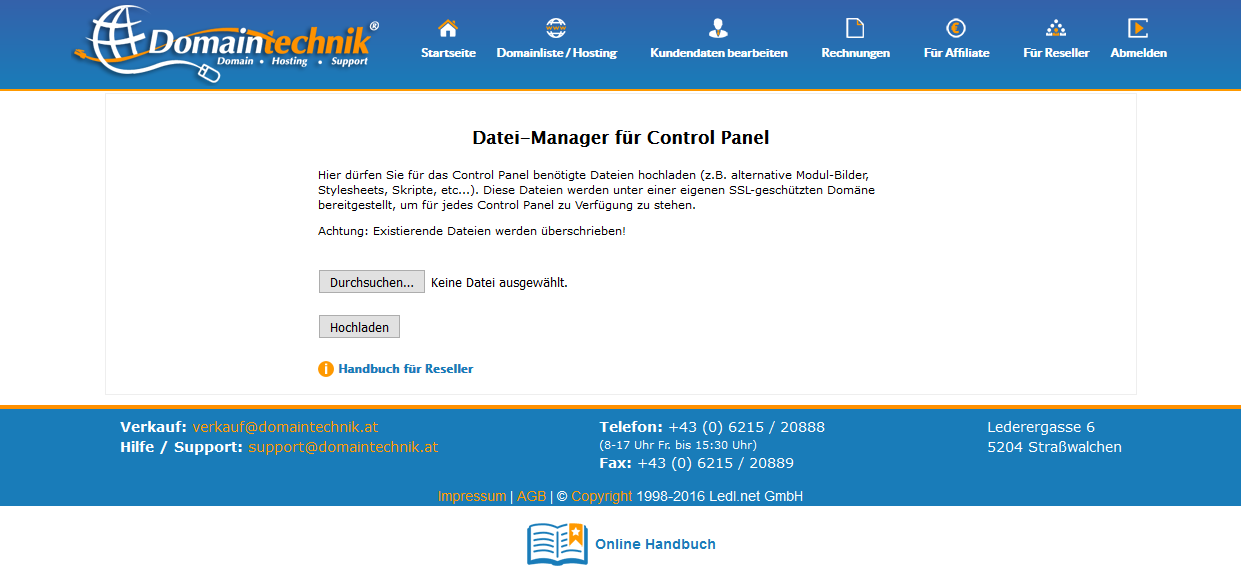 Datei Manager Control Panel