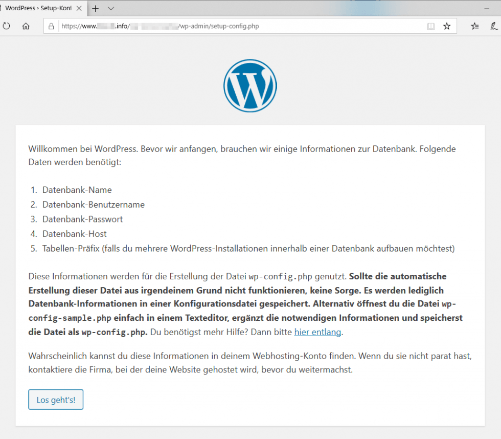 WordPress Installation Startseite