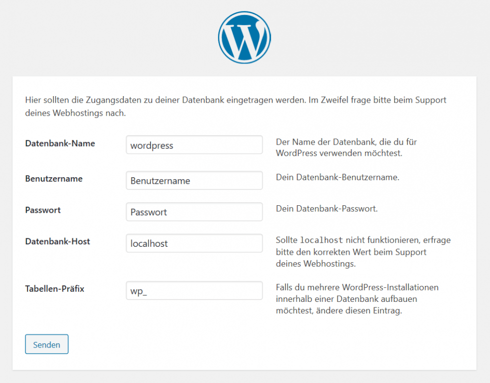 WordPress Installation Datenbank Zugangsdaten