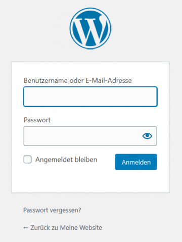 WordPress Anmeldefenster