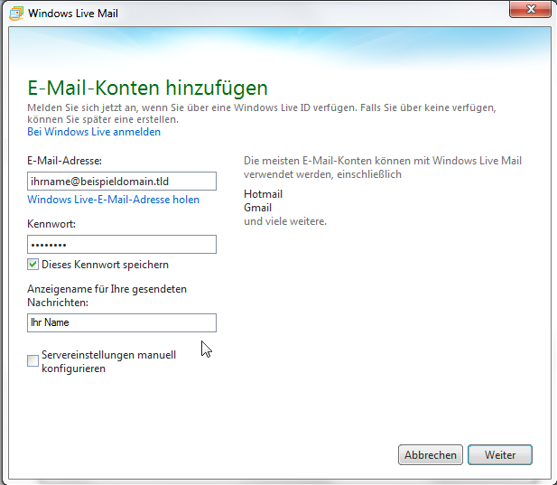 Windows Live Mail 2011 - Schritt 6