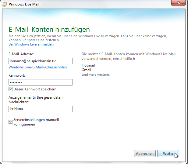 Windows Live Mail 2011 - Schritt 8