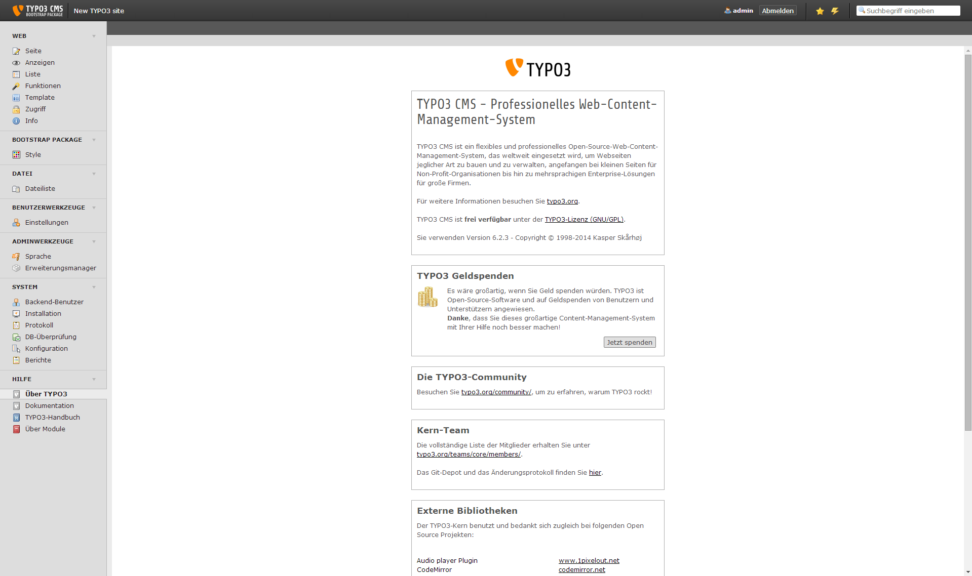 TYPO3 - Backend
