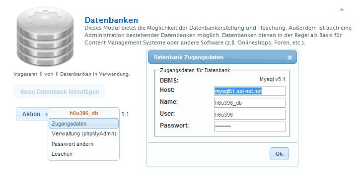 Datenbank Zugangsdaten