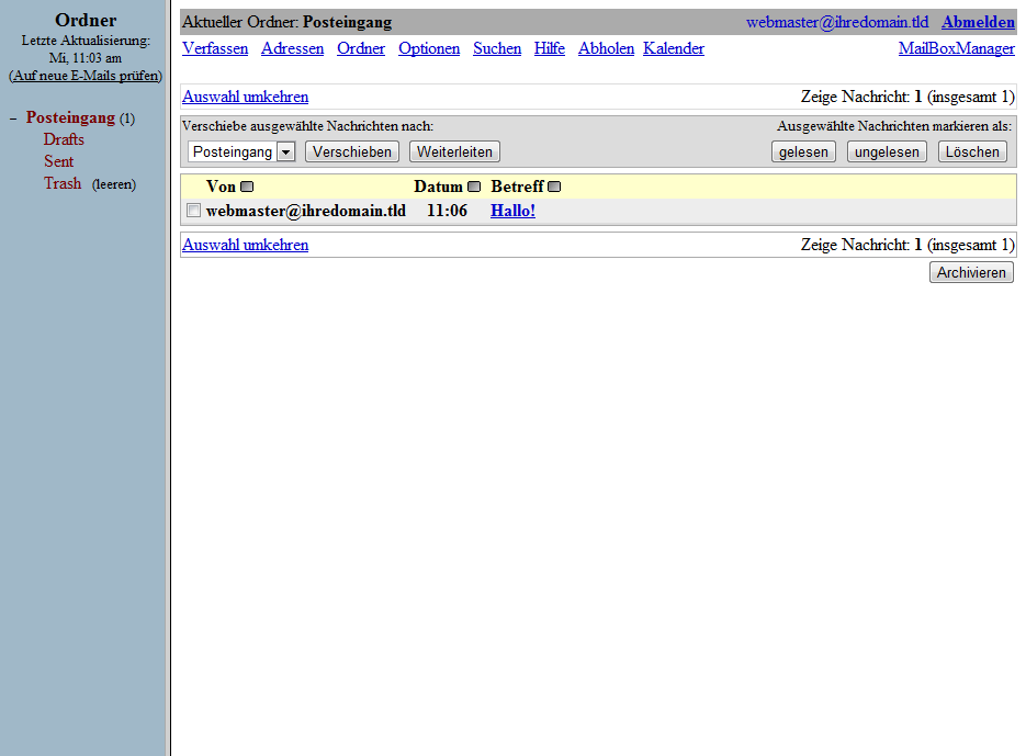 Squirrelmail Webmail Screenshot 3