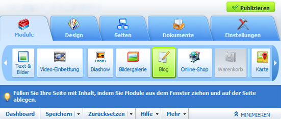 Homepage Designer Toolbar
