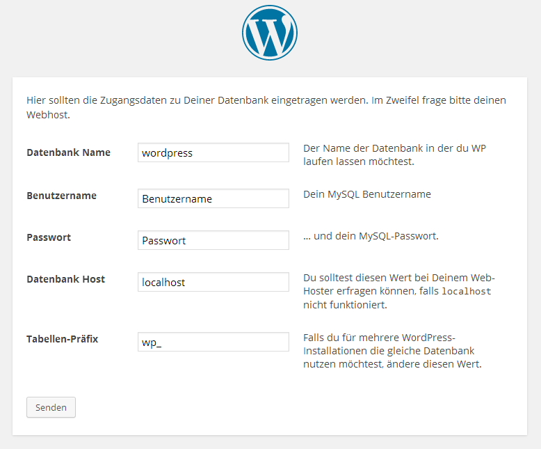 WordPress - Konfiguration der Datenbank