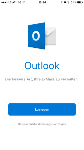 Outlook iOS Schritt 1