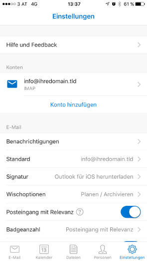 Outlook iOS Schritt 10.1