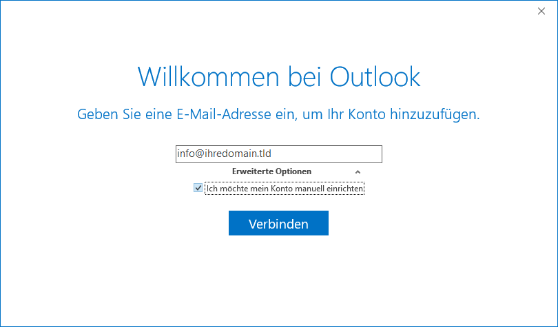 IMAP E-Mail Konto in Outlook anmelden - Schritt 5