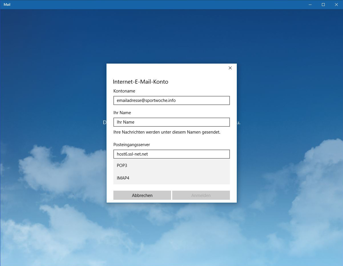 Windows 10 Mail - Schritt 6